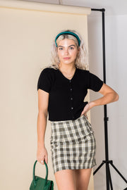 Daisy Street Mini Skirt in Khaki Check Print