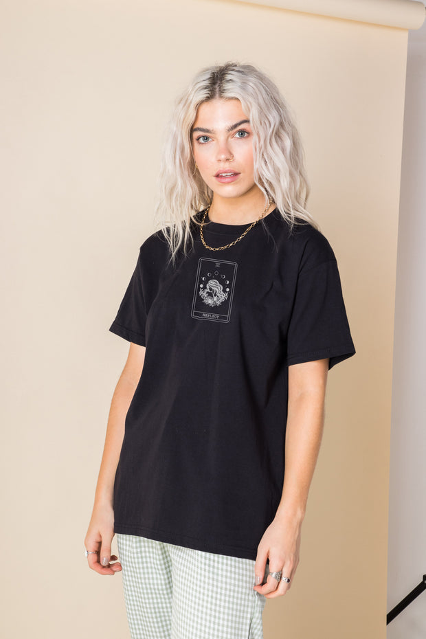 Daisy Street Relaxed T-Shirt with Reflect Tarot Card Print