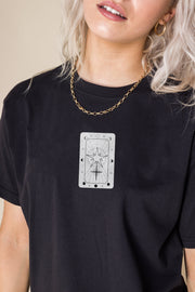 Daisy Street Relaxed T-Shirt with Star Tarot Card Print