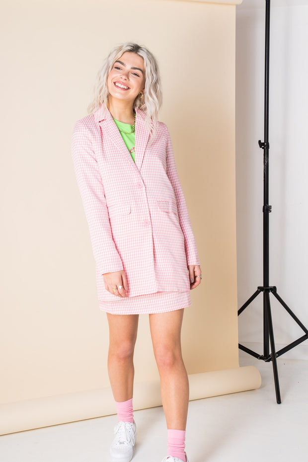 Heartbreak Longline Blazer Suit in Gingham