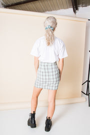 Heartbreak Tailored Mini Skirt in Mint Check