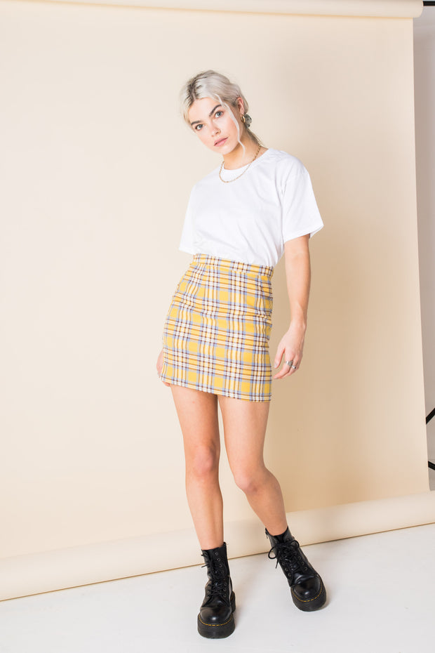 Heartbreak Tailored Mini Skirt in Check