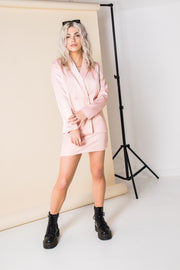 Heartbreak Satin Double Breasted Blazer in Pink