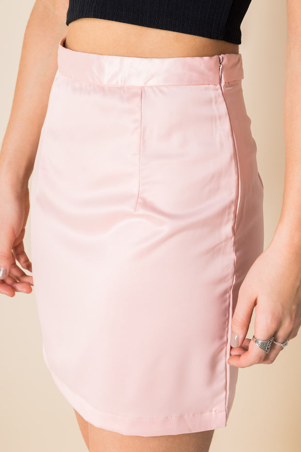 Heartbreak Satin Mini Skirt in Pink