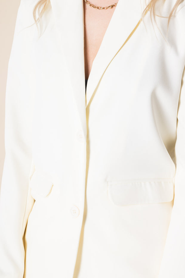 Heartbreak Longline Blazer Suit in Cream