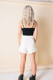 Heartbreak Tailored Belted Shorts Suit in Cream