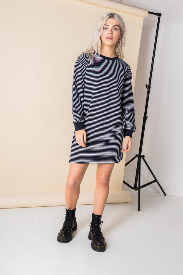 Daisy Street Relaxed Striped Knitted Dress