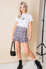 Daisy Street Cropped T-Shirt with Basic Tee Print