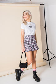Daisy Street Mini Skirt with Check Print