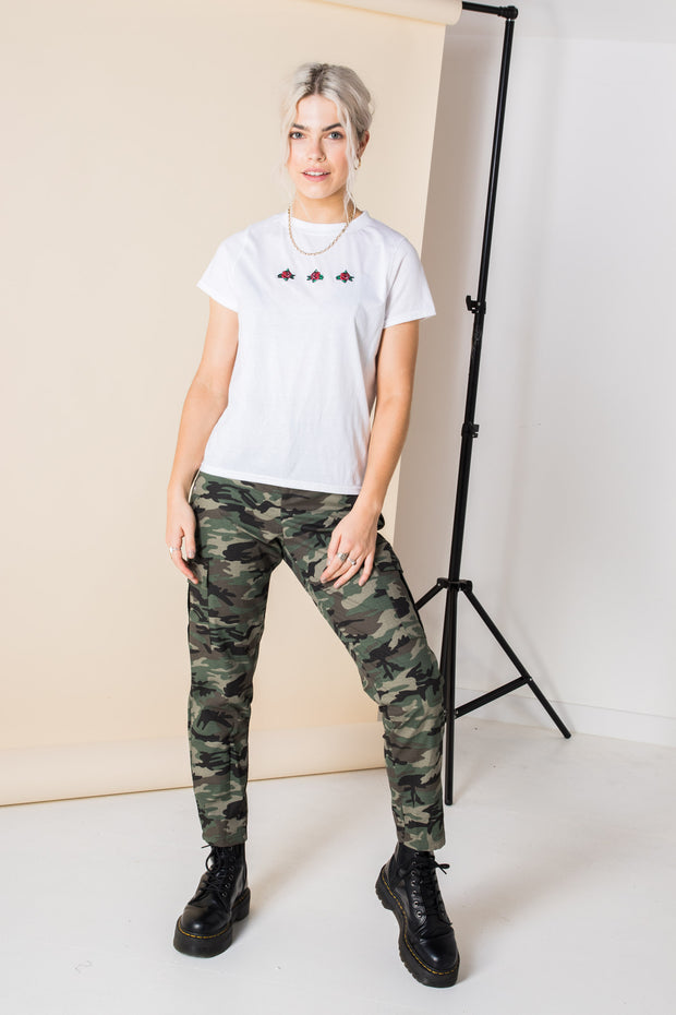 Daisy Street Cropped T-Shirt with Rose Embroidery