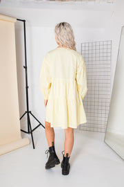 Daisy Street Pastel Yellow Smock Mini Dress