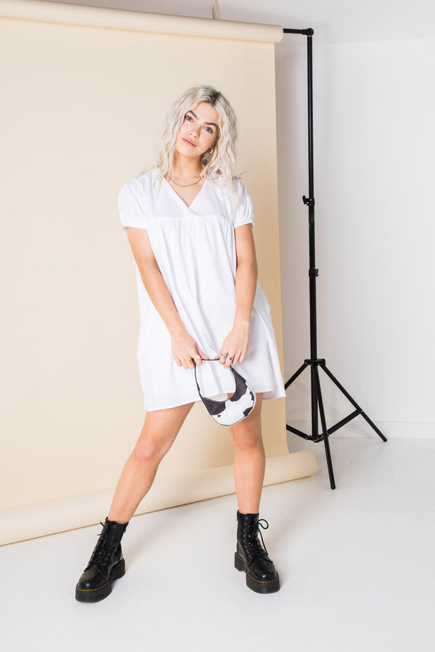 Daisy Street Relaxed Smock Style Playsuit with Skirt Overlay
