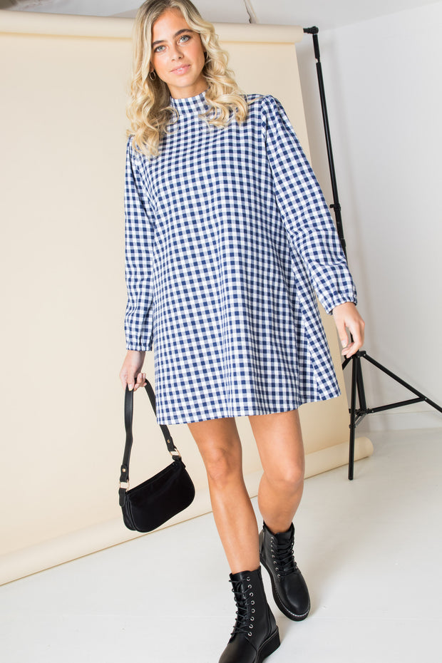 Daisy Street High Neck Mini Smock Dress in Gingham