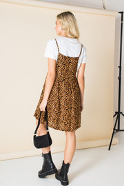 Daisy Street Mini Smock Dress in Leopard Print