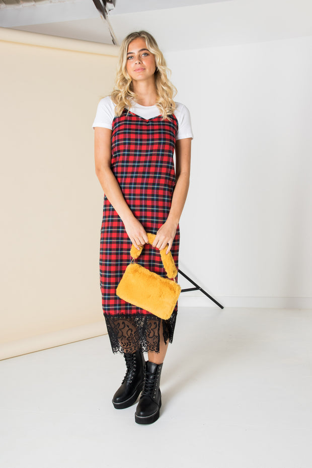 Daisy Street Midi Slip Dress with Lace Trim in Tartan