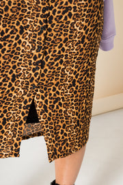 Daisy Street Button Front Midi Skirt in Leopard Print