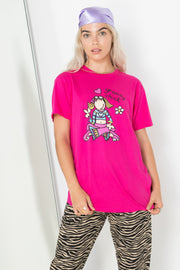 Daisy Street X Groovy Chick Relaxed Pink T-Shirt with Groovy Chick Print