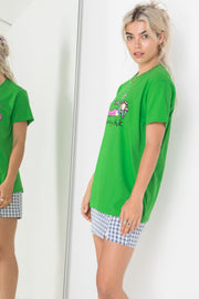 Daisy Street X Groovy Chick Relaxed Green T-Shirt with Groovy Chick Print