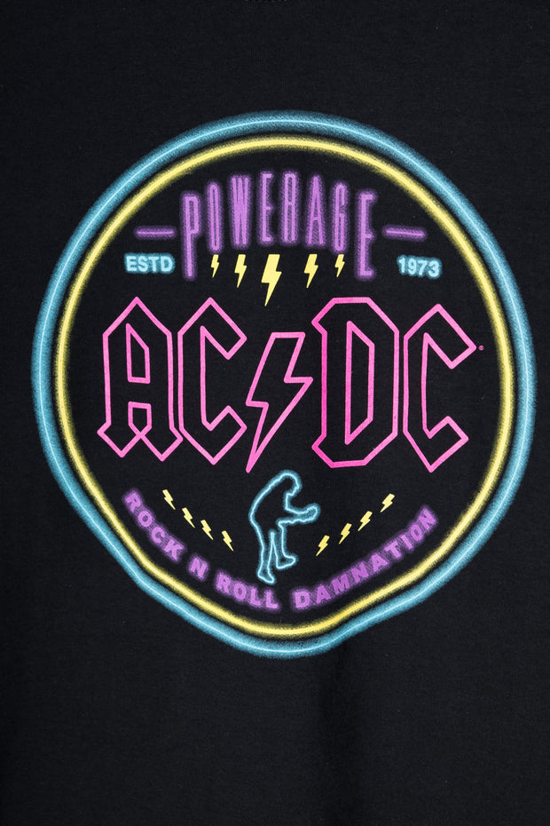 Daisy Street Relaxed T-Shirt with Neon AC/DC Print