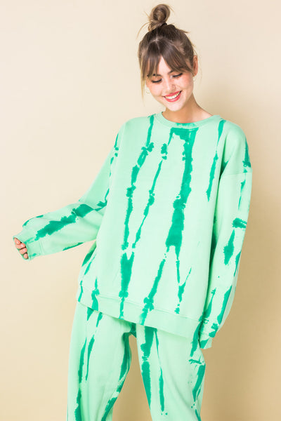 Daisy Street Oversized Sweatshirt in Green Watermelon Print