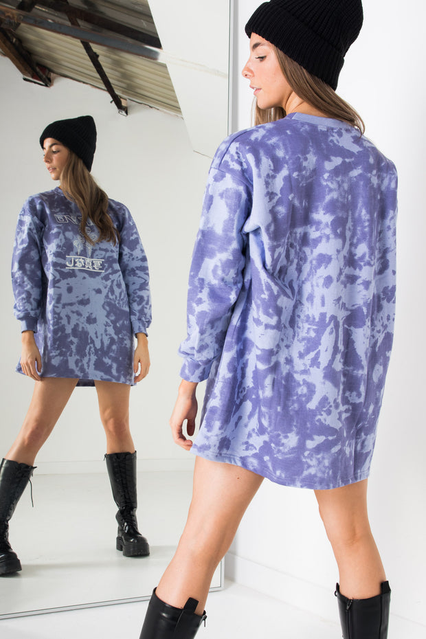 Daisy Street Oversized Sweat Dress with Tokyo Print in Purple Tie-Dye