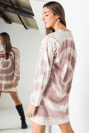 Daisy Street Oversized T-Shirt Dress with Sportfest 1990 Print in Brown Tie-Dye