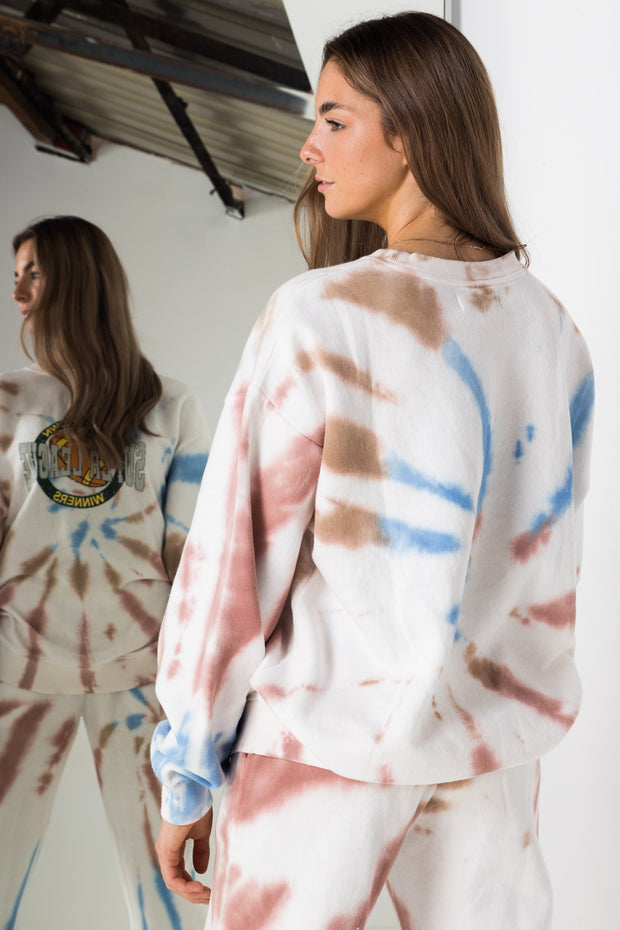 Daisy Street Oversized Sweatshirt in Grunge Tie-Dye with Super-League Print