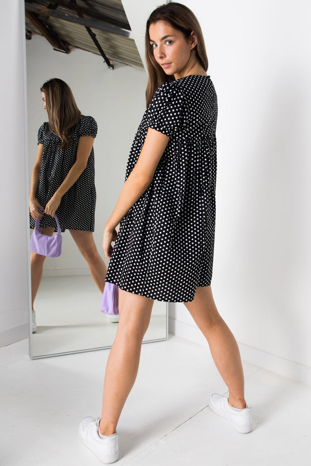 Daisy Street Polka Dot Smock Style Playsuit with Skirt Overlay