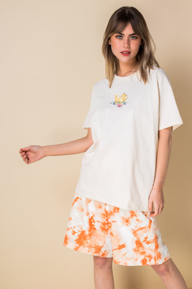 Daisy Street Relaxed T-Shirt with Cute Cat Print