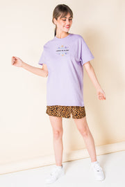 Daisy Street Relaxed T-Shirt with Leave Me Alone Print