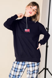 Daisy Street Sweatshirt with Half Zip and USA Flag Embroidery