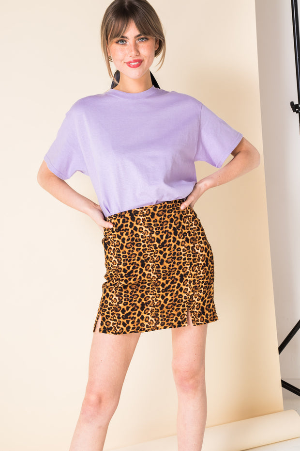 Daisy Street Mini Skirt with Front Splits in Leopard Print