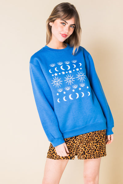 Daisy Street Relaxed Sweatshirt with Astrology Print