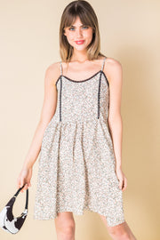 Daisy Street Mini Cami Dress with Lace Trim in Vintage Floral