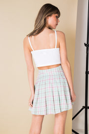 Daisy Street Mini Pleated Skirt in Pastel Vintage Check