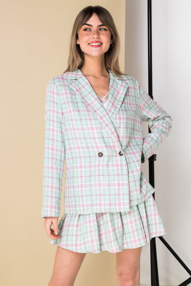 Daisy Street Oversized Blazer in Pastel Check Co-ord