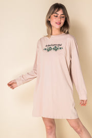 Daisy Street Oversized Long Sleeve T-Shirt Dress with Be Kind Print