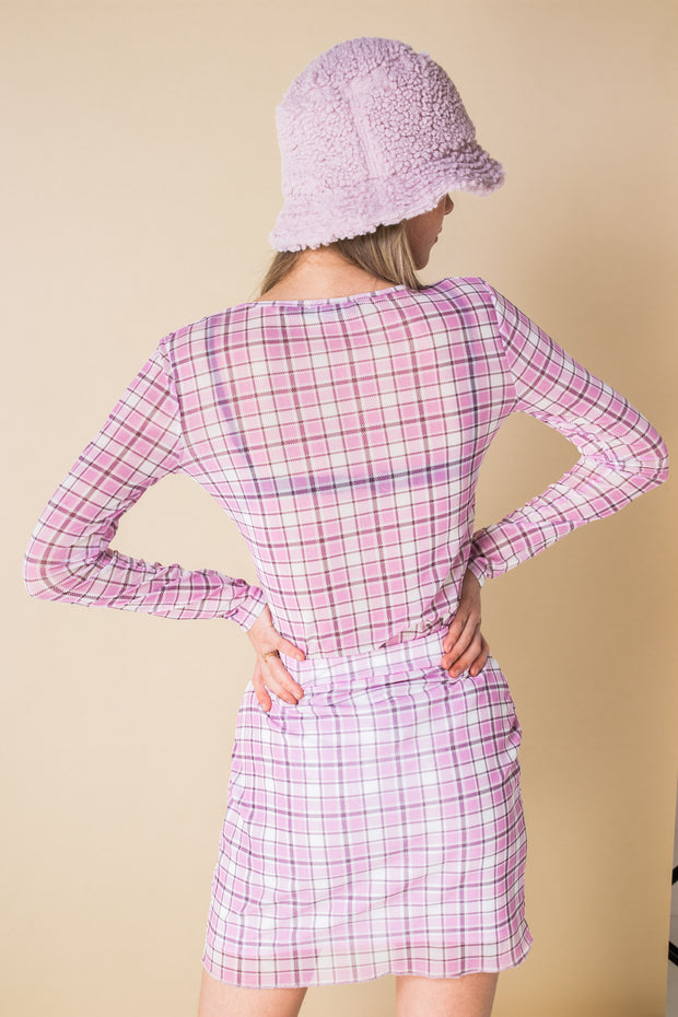Daisy Street Pink Checked Mesh Mini Skirt