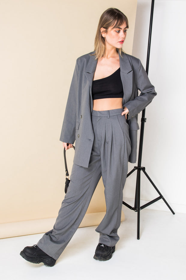 Daisy Street Relaxed Wide Leg Trousers with Pleat Front