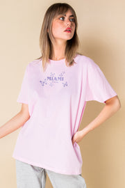 Daisy Street X Mocean Oversized T-Shirt with Miami Print