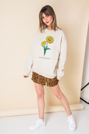 Daisy Street Oversized Sweat with Live Life in Full Bloom Print
