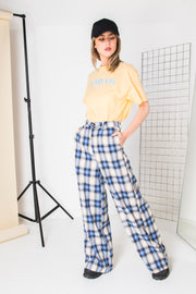 Daisy Street Relaxed Wide Leg Trousers in Vintage Check