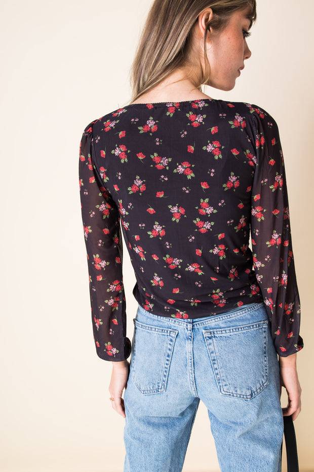 Daisy Street Rose Mesh Crop Top