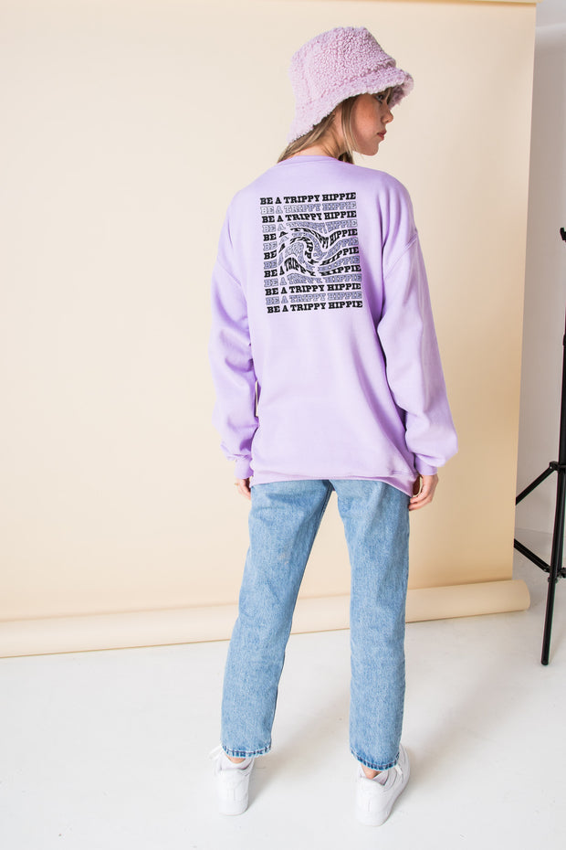 Daisy Street Oversized Sweatshirt with Trippy Hippie Back Print