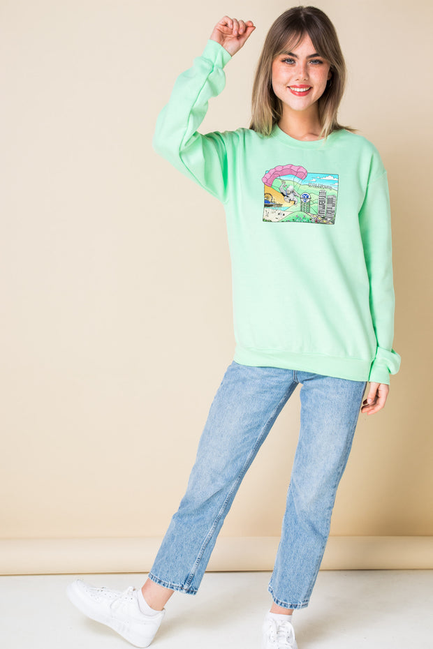 Daisy Street Oversized Sweatshirt with Hollywood Print