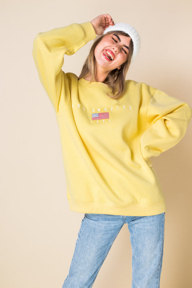 Daisy Street Oversized Sweat with Los Angeles Embroidery