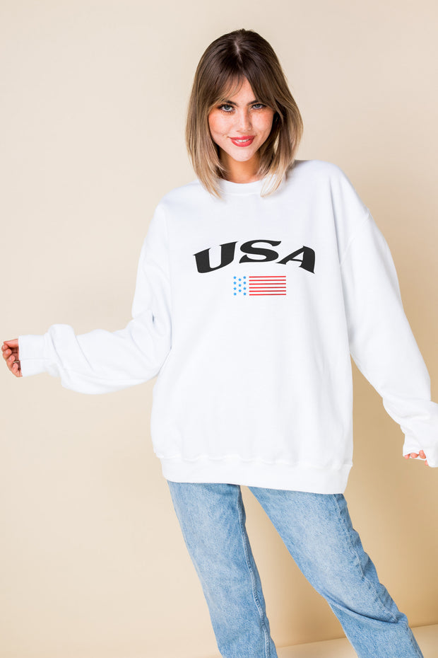 Daisy Street Oversized Sweat with USA Print