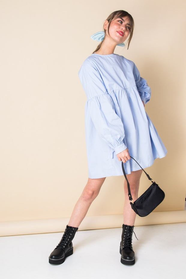 Daisy Street Mini Smock Dress with Tie Cuffs