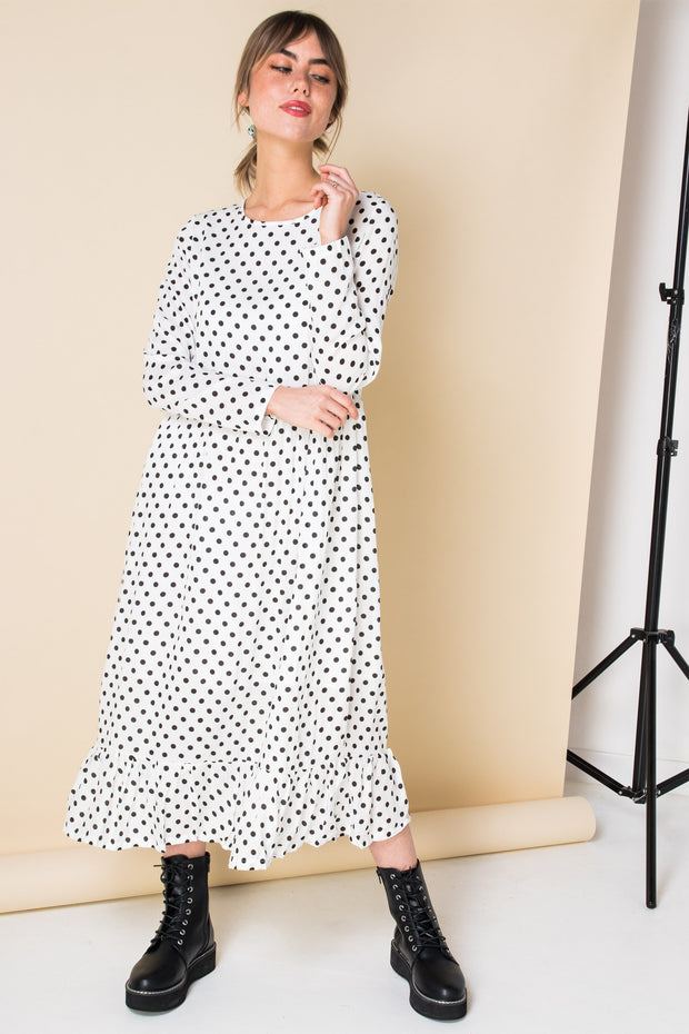Daisy Street Midaxi Smock Dress in Spot Print