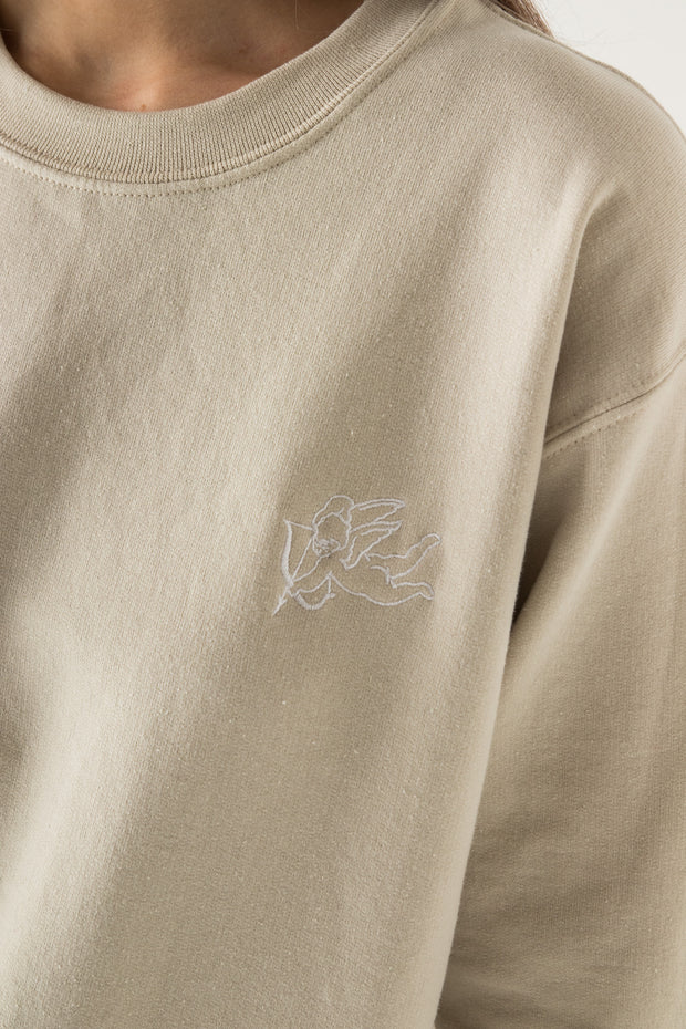 Daisy Street Oversized Sweat with Cherub Embroidery